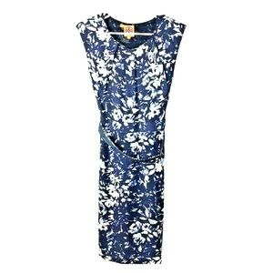 Tory Burch Womens Size 2 Blue White Floral Silk